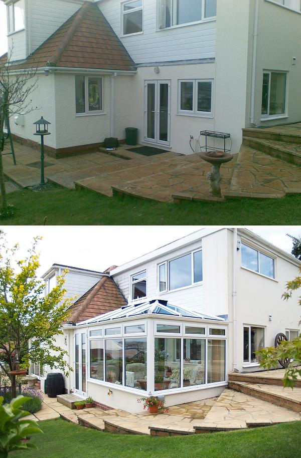 before and after shot of the conservatory