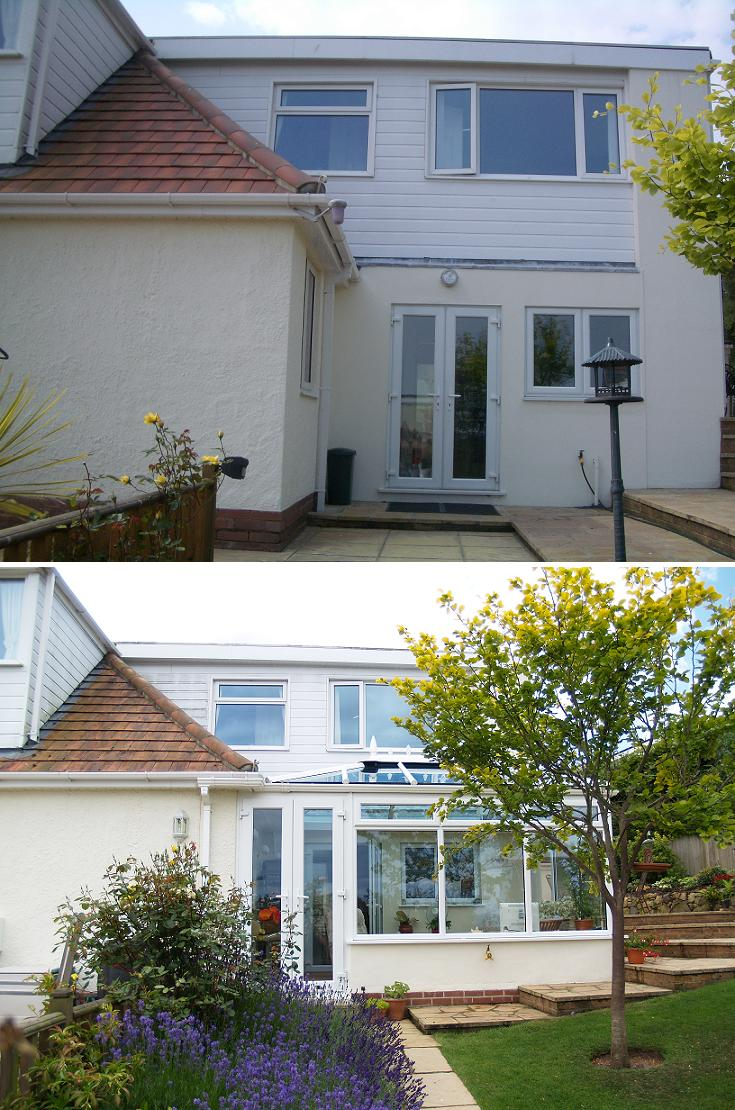 before and after shot of conservatory